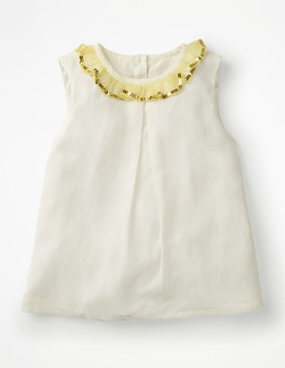 Sparkly Ruffle Trim Top