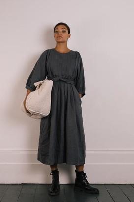 THE REGULAR - Quilt Dress Slate Grey Garment Dyed Linen - XS/S