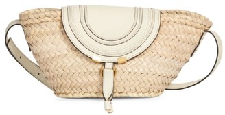 Chloé Small Marcie Leather-Trimmed Raffia Tote