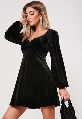 Missguided Black Velvet Milkmaid Skater Dress