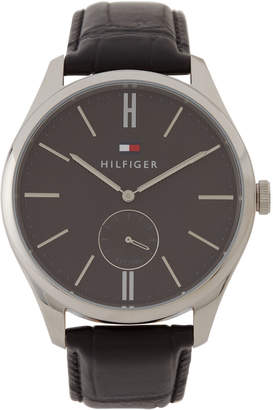 Tommy Hilfiger 1791168 Silver-Tone & Black Leather Curtis Watch