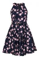Quiz Navy And Pink Floral Print Skater Dress