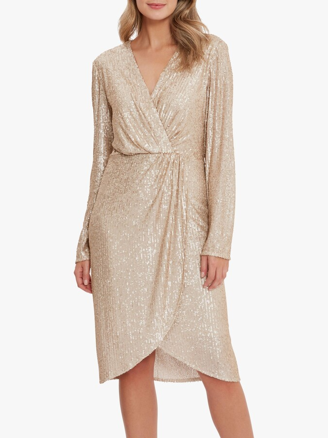 Thumbnail for your product : Gina Bacconi Erica Sequin Wrap Dress