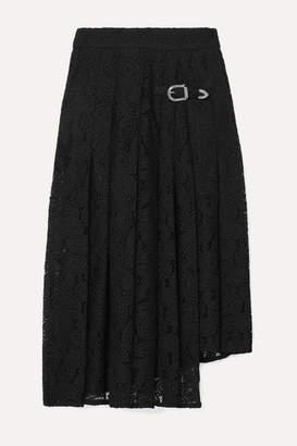 Maje Jalilo Buckled Asymmetric Pleated Guipure Lace Midi Skirt - Black