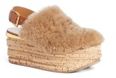 Chloé Women's Camille Genuine Shearling Slingback Platform Wedge