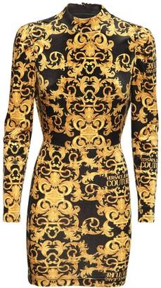 Versace Jeans Couture Printed Tech Velvet Mini Dress
