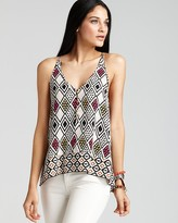 Twelfth Street by Cynthia Vincent V Neck Aztec Printed Cami