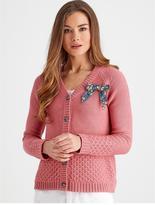 Joe Browns Cosy Knit Bow Cardigan - Pink