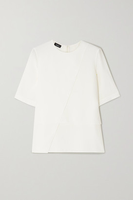 Akris Asymmetric Draped Silk Crepe De Chine Blouse - White