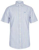 Burton Mens Farah Blue And Pink Short Sleeve Stripe Shirt*