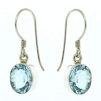 Nova Silver Bemine Oval Facetted Cut Blue Topaz Drop Earrings in presentation box