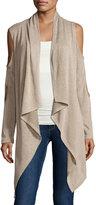 Neiman Marcus Double-Cutout Open-Front Cardigan, Khaki