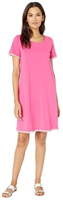 Tribal T-Shirt Dress w/ Fringe (Hot Pink) Women's Clothing