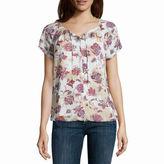 Liz Claiborne Short-Sleeve Button-Front Blouse