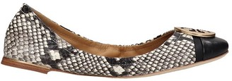 Tory Burch Minnie Cap-toe Ballet Flats In Animalier Leather