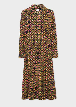 Paul Smith Women's Black 'Ditsy Beetle' Print Silk Midi Shirt Dress