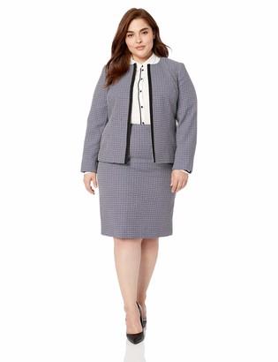Le Suit LeSuit Women's Petite Jewel Neck Fly Away Plaid Tweed Skirt Suit