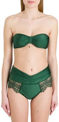 Oseree Lace Trim Draped Bikini
