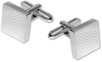 Black Brown 1826 Square Lasered Herringbone Design Cufflinks