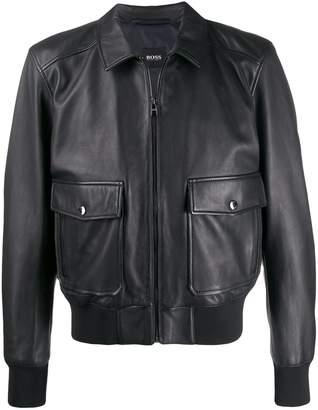 HUGO BOSS flap-pocket leather jacket