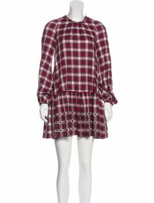 No.21 Embellished Plaid Dress Red