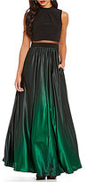 Betsy & Adam Betsey and Adam Mock Neck Two-Piece Ombre Gown
