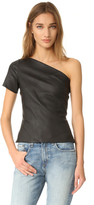 Helmut Lang Asymmetrical One Shoulder Leather Top