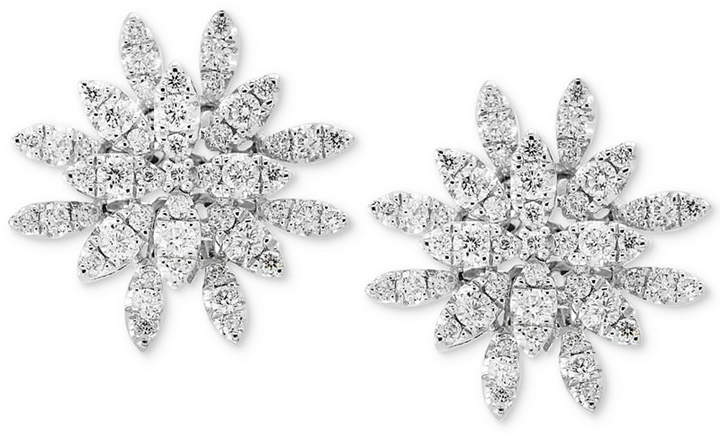 Effy Pave Rose by Diamond Cluster Stud Earrings (3/4 ct. t.w.) in 14k White Gold