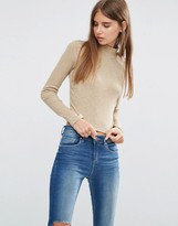 Asos Crop Top with Turtleneck in Space Dye