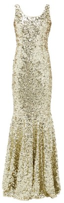 Dolce & Gabbana Sequinned Fishtail Gown - Womens - Gold
