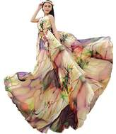 Medeshe(TM) Women's Chiffon Floral Holiday Beach Bridesmaid Maxi Dress Sundress (Length-135cm)