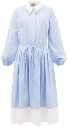 No.21 No. 21 - Crystal-embellished Striped-cotton Shirtdress - Womens - Blue White