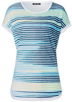 Olsen Cap-Sleeve Linen Striped Tee