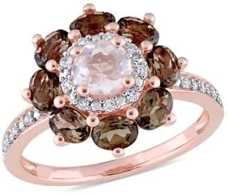 Laura Ashley English Garden Sterling Silver, Smokey, Rose Quartz Diamond Ring