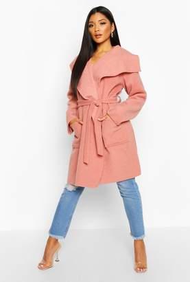 boohoo Brushed Wool Look Belted Coat