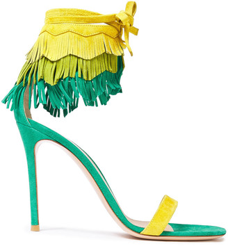 Gianvito Rossi Fringed Color-block Suede Sandals