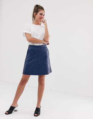 Only faux leather mini skirt-Blue
