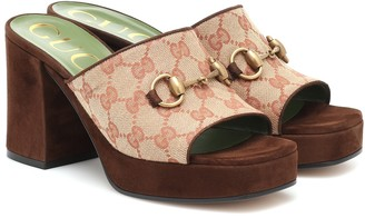Gucci GG canvas and suede sandals