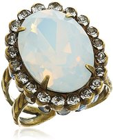 """Sorrelli Pearl Luster"""" Glamorous Oval-Cut Crystal Ring, Size 7-9"""
