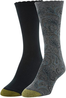Gold Toe Women's Little Paisley and Flat Knit Crew Socks 2 Pairs