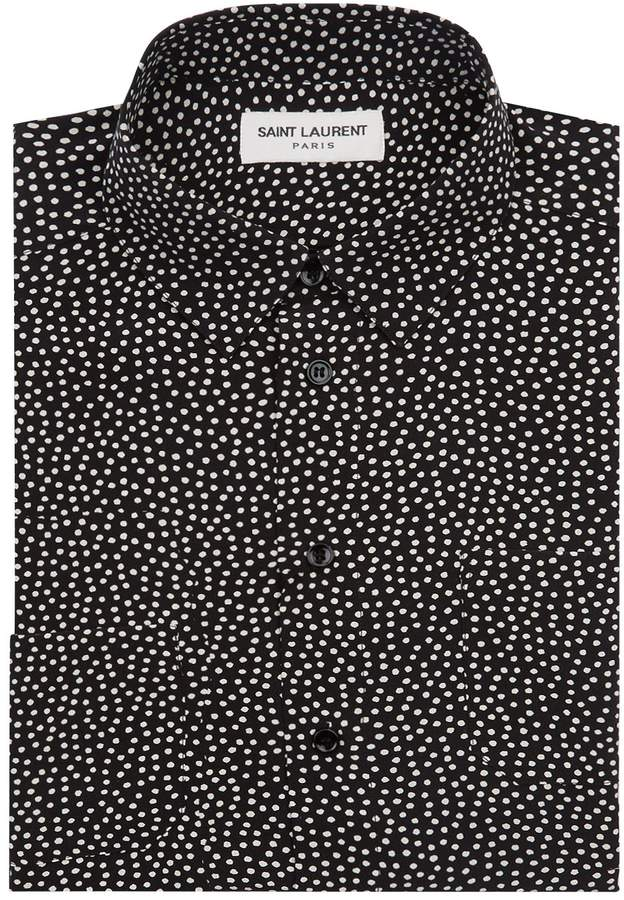 Saint Laurent Silk Polka Dot Print Shirt