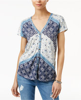 Lucky Brand Bali Mixed-Print Blouse