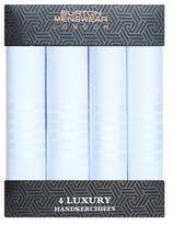 Burton Mens White Luxury Four Pack Handkerchiefs