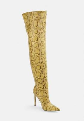 Missguided Yellow Snake Print Over The Knee Heeled Boots