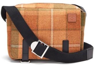 Loewe Military Xs Wool-tartan Messenger Bag - Tan