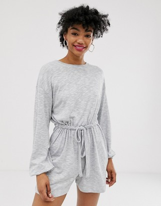 Asos Design DESIGN slouchy button back long sleeve playsuit-Grey