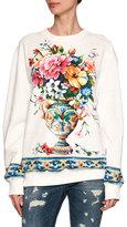 Dolce & Gabbana Floral Vase Sweatshirt, White