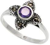 "Sabrina Silver Sterling Silver Marcasite Clover Ring, w/ Brilliant Cut Amethyst CZ, 1/2"" (13 mm) wide, size 8"