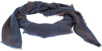 Gucci Brown and Blue Silk Wool Guccissima Fringed Square Scarf