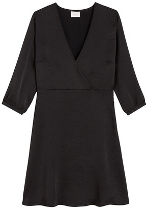Vila Flared Wrapover Mini Dress with 3/4 Length Sleeves